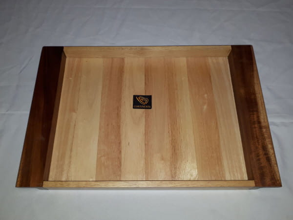 Tablett 3282 Gummibaum mit Griffleisten Akazie - B-Ware