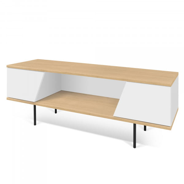 Temahome TV-Tisch Dixie - Eiche / Weiß, seitlich