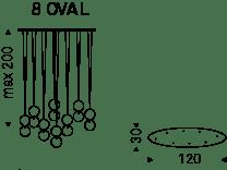 8 Pendel - ovaler Aufbau