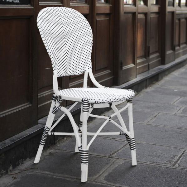 Sika Design Rattanstuhl Alu Isabell ohne Armlehne Weiß