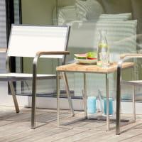 Outdoor Hocker/ Beistelltisch Lux aus Teakleisten, Edelstahlgestell