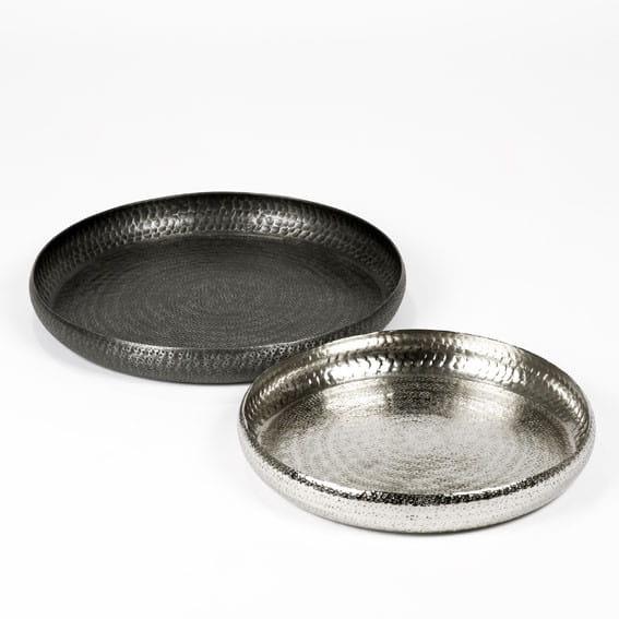 Lambert Tablett / Schale Faro Graphit / Silber vernickelt
