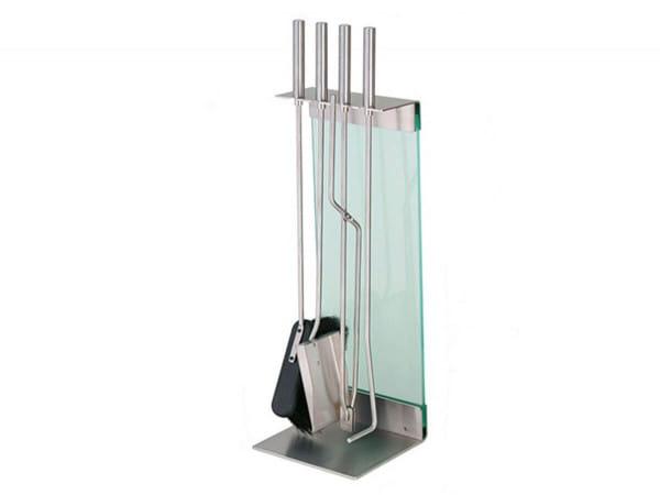 conmoto Kaminbesteck Teras Edelstahl & Glas weiß mit Ständer