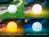 Moonlight Vollkugel MFL Vergleich Außen Tag vs. Nacht sowie mit vs. ohne Filter