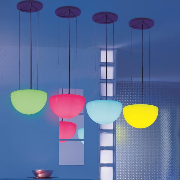 Moonlight Halbkugel Hängeleuchte MHH Weiß mit Farbfiltern Ambiente Indoor Blau
