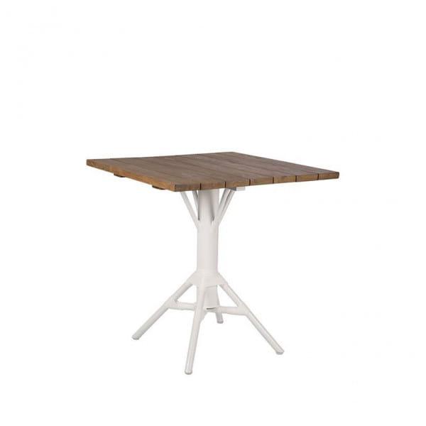 Sika Design Bistrotisch Nicole Teak Tischplatte 70x70cm weiß