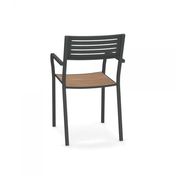 emu Outdoor Stuhl Segno (mit Armlehne) - 22 Antikeisen > Teak