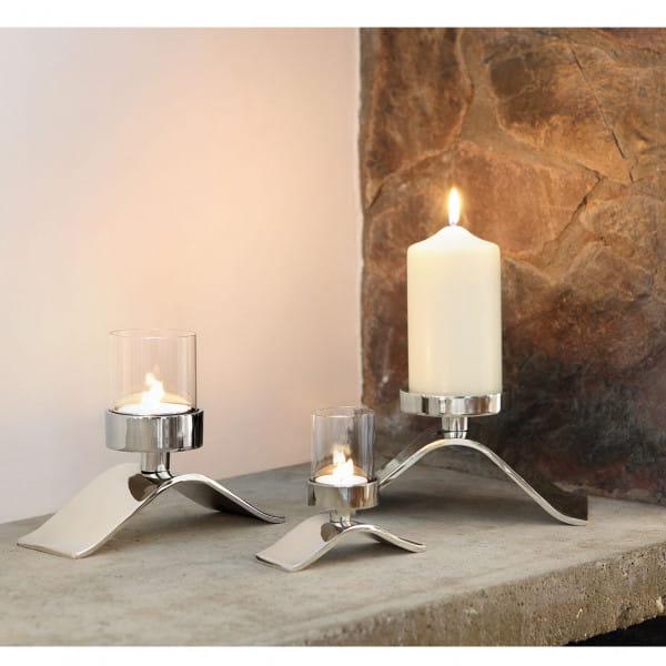 Fink Living Stumpenkerzenhalter Wave - Ambiente mit Teelichthalter