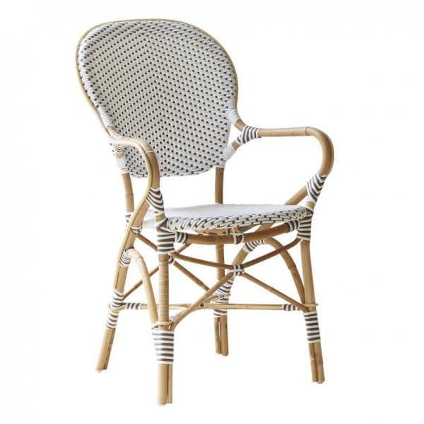 Sika Design Rattanstuhl Isabell mit Armlehne Weiß