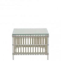 Sika Design Exterior Beistelltisch Caroline Alu Rattan mit Glasplatte Dove White