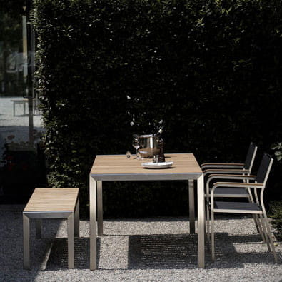 Jan Kurtz Luxury Gartenbank Edelstahl mit Teakholzplatte