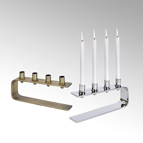 Lambert Antares Kerzenständer silber H14 cm 31 x5,5 cm