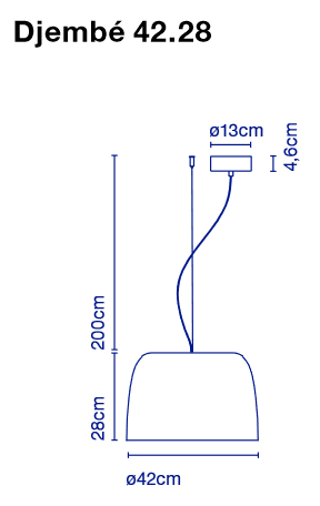 marset Pendelleuchte LED Djembe Maße 42.28