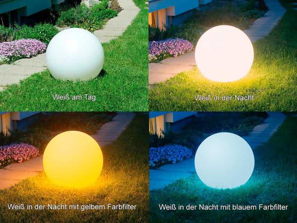 Moonlight Vollkugel Vergleich Außen Tag vs. Nacht und mit vs. ohne Filter