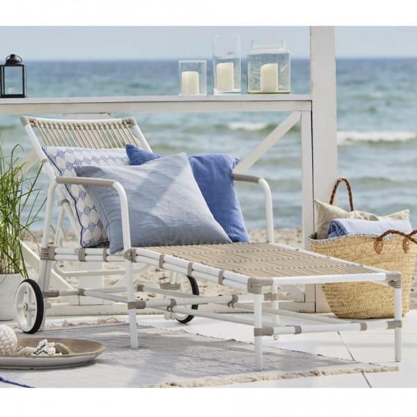 Sika Design Exterior Liegestuhl Josephine Alu Rattan Dove White