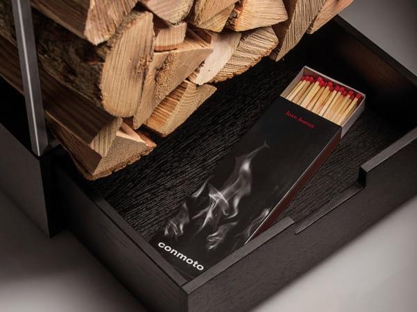 Hochwertiges Brennholzregal MARGO von conmoto Detail Schublade