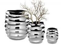 Fink Living Vase/Übertopf Fabia - Silber, 3 Größen