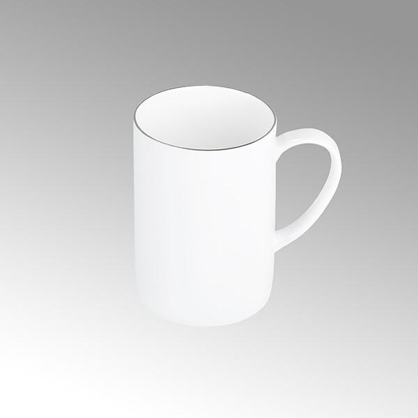 Lambert Kaffeebecher Serene Weiß mit Platinrand