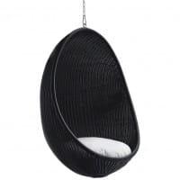 Sika Design Icons Hanging Egg aus Rattan Mattschwarz - Kette