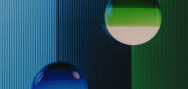 marset Pendelleuchte LED Dipping Light Ambiente Stillleben Grün und Blau horizontal