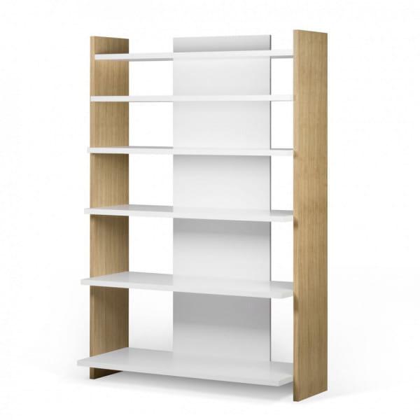 Temahome Bücherregal Niko - Eiche / Weiß, schräg