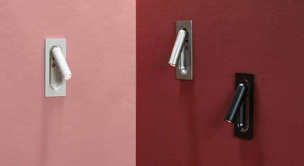 marset Wandleuchte Ledtube Mini Weiß, Aluminium satiniert und Schwarz Stillleben