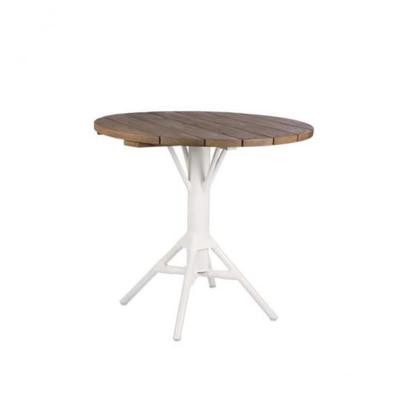 Sika Design Bistrotisch Nicole Teak Tischplatte Durchmessr 80cm weiß