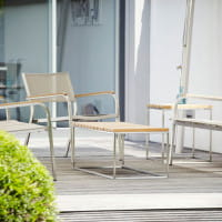 Jan Kurtz Outdoor Tisch/ Bank Lux aus Teakleisten, Edelstahlgestell