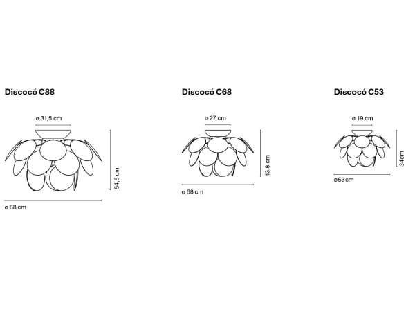 Deckenleuchte Discoco C68 Form und Maße