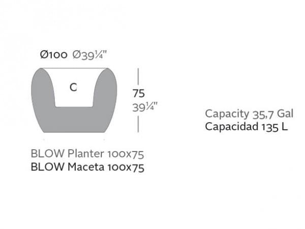 Pflanzgefäß Blow Low - 75 cm