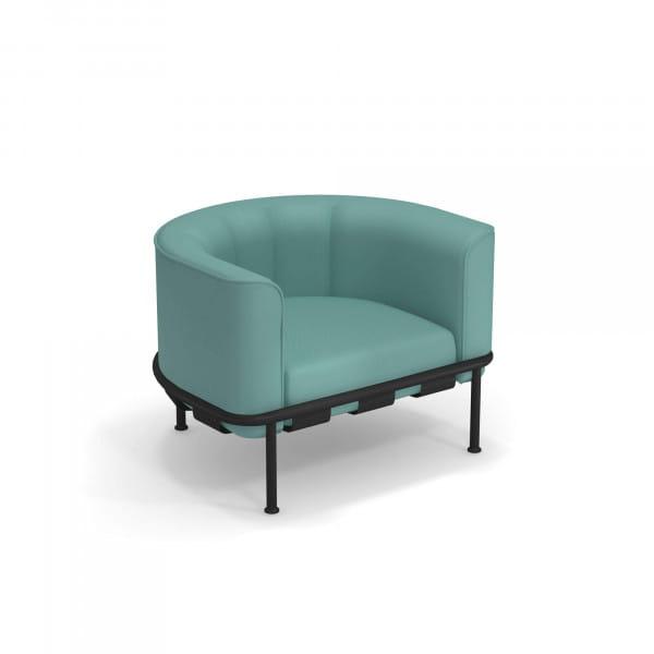 emu Loungesessel Dock - Beispiel Gestellfarbe Schwarz mit Polsterfarbe Türkis