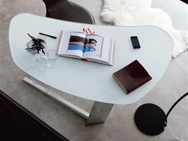 Schreibtisch Island Glas Weiß