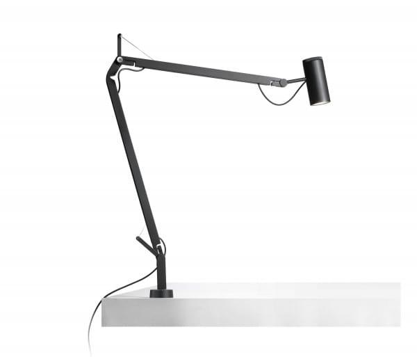 marset Tischleuchte Polo mit Tisch-Einbauhalterung schwarz (auch in weiß erhältlich) Installationsbeispiel