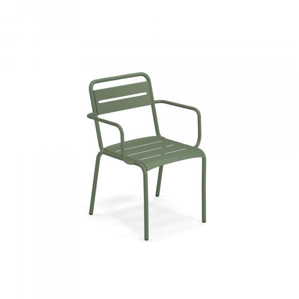emu Outdoor Gartenstuhl Star (mit Armlehne) - 17 Militärgrün