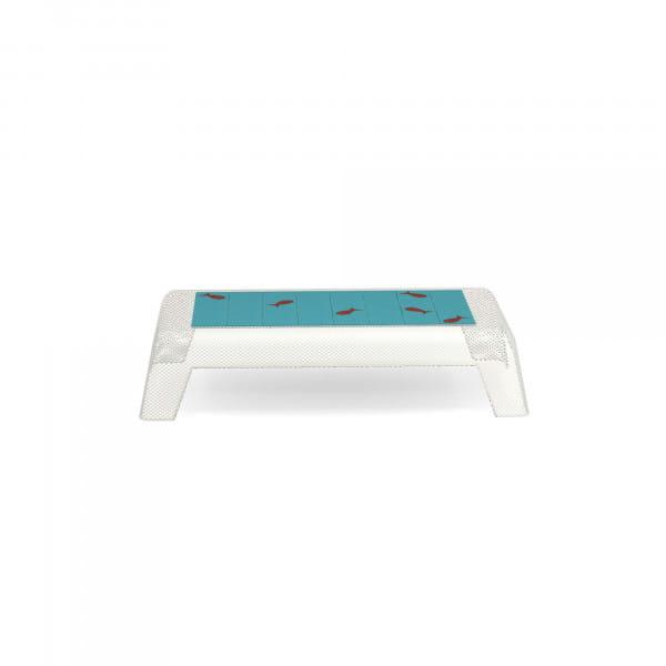 emu Outdoor Tisch niedrig Ivy - Weiß mit blauen Kacheln