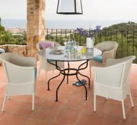 Lambert Outdoor Eisentisch Provence Marmor Weiß