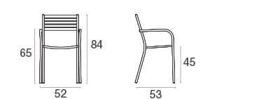 emu Outdoor Stuhl Segno (mit Armlehne) - Maße