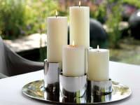 Fink Living Edelstahl Stumpenhalter Sobrio - Ambiente, cremefarbene Kerzen