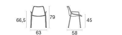 emu Outdoor Armlehnstuhl Round - Maße