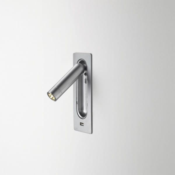 marset Wandleuchte Ledtube RSC USB Aluminium satiniert installiert