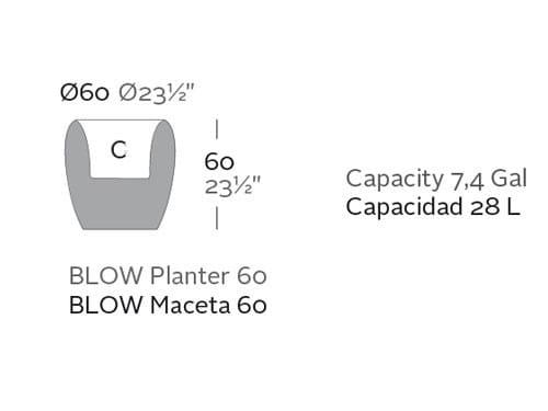 Beleuchtetes Pflanzgefäß Blow - 60 cm