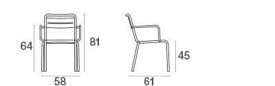 emu Outdoor Gartenstuhl Star (mit Armlehne) - Maße