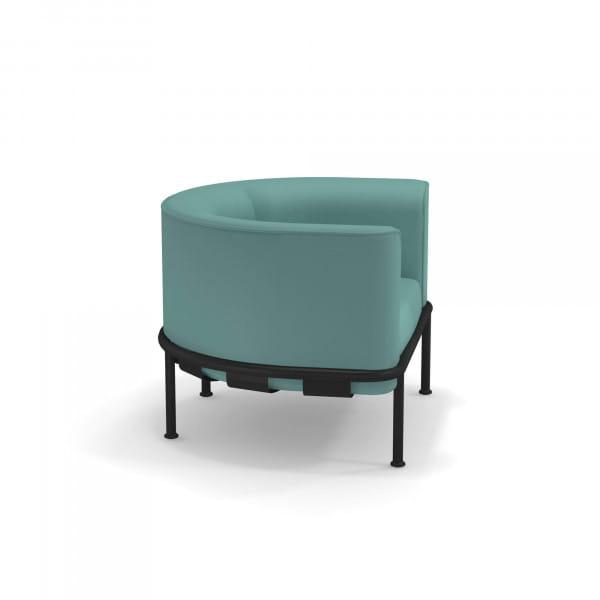 emu Loungesessel Dock - Beispiel Gestellfarbe Schwarz mit Polsterfarbe Türkis - seitlich