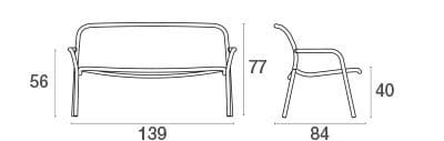 emu Outdoor Sofa Yard 2-Sitzer (stapelbar) - Maße