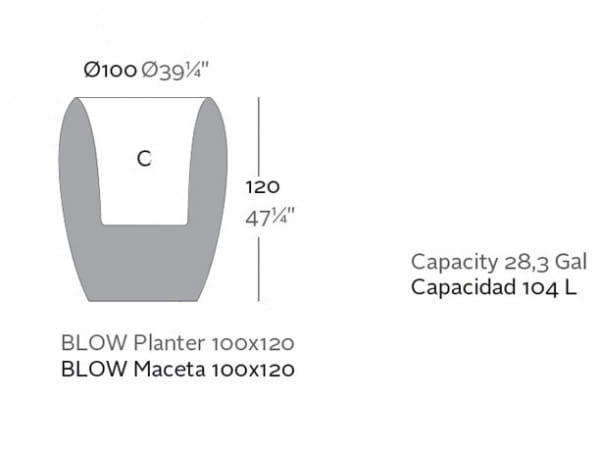 Pflanzgefäß Blow High - 120 cm