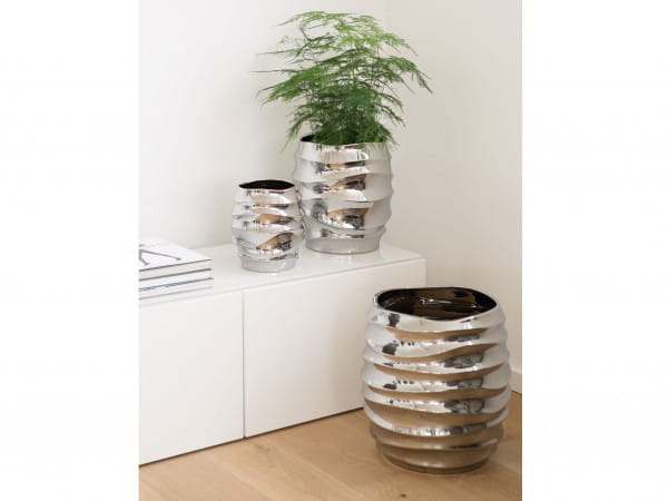 Fink Living Vase/Übertopf Fabia - Silber, Ambiente