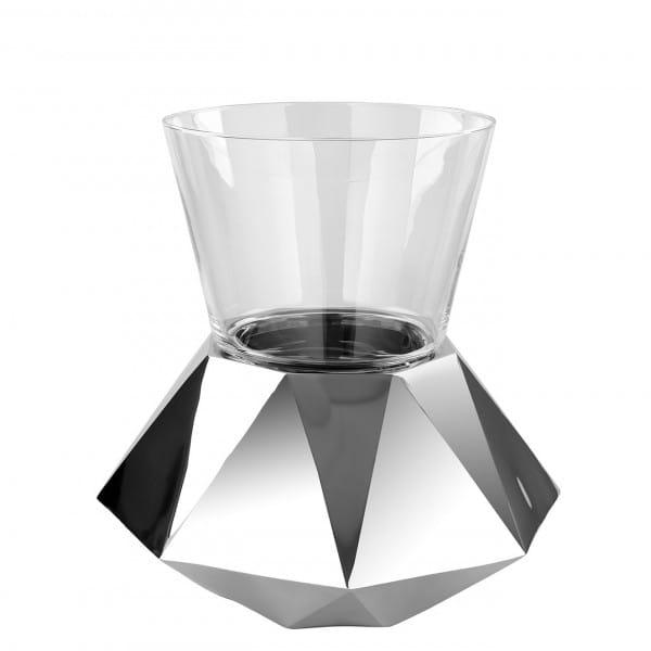Fink Living Dekosäule Diamond - 28 cm hoch mit Glaseinsatz