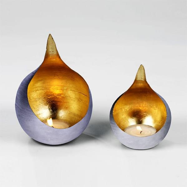 Lambert Windlicht Caldera Silber vernickelt, innen goldenes Metallblatt - 2 Größen