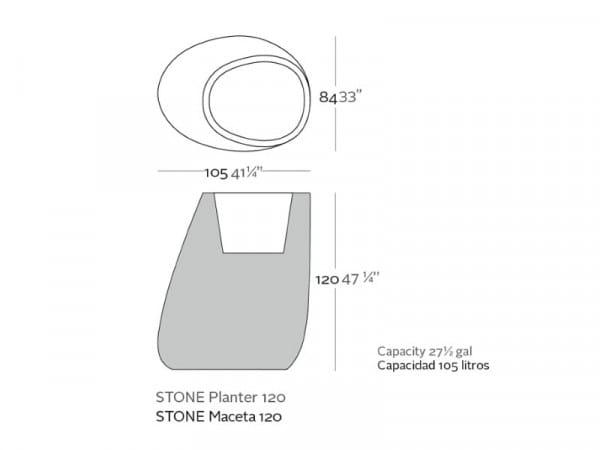 Beleuchtetes Pflanzgefäß Stone L
