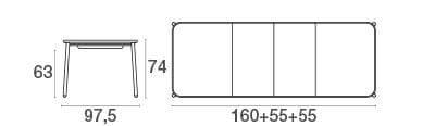 emu Outdoor Gartisch Yard ausziehbar 160 x 98 cm - Maße